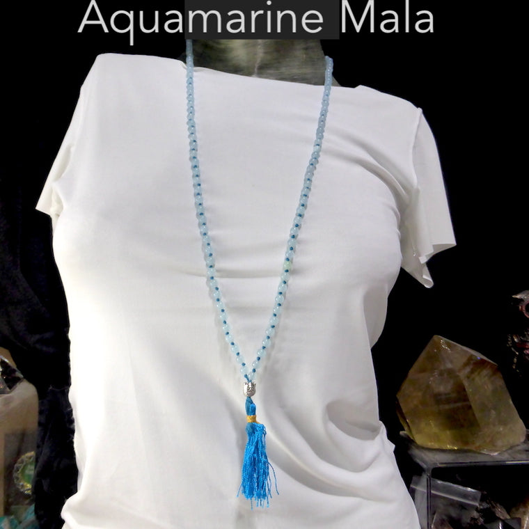 Mala Necklace with Aquamarine Beads