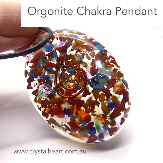 Orgone Crystal Chakra Pendant | Orgonite embedded with Chakra Crystals | Crystal Heart Australian Alternative Megastore est. 1986