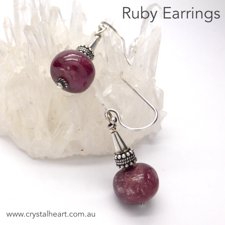 Ruby Earrings, 925 Silver