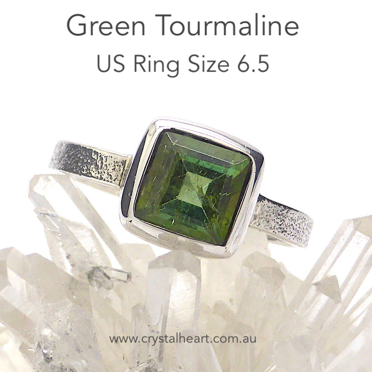 Tourmaline Ring, Green Faceted Square, 925 Silver p4