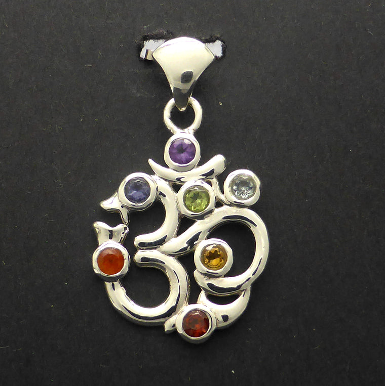 Chakra Pendant with Cut Stones, OM, 925 Silver