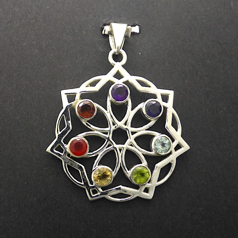 Chakra Pendant with 7 point Star, 925 Silver