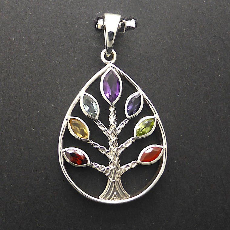 Chakra Pear Tree, Faceted Gemstones, 925 Silver
