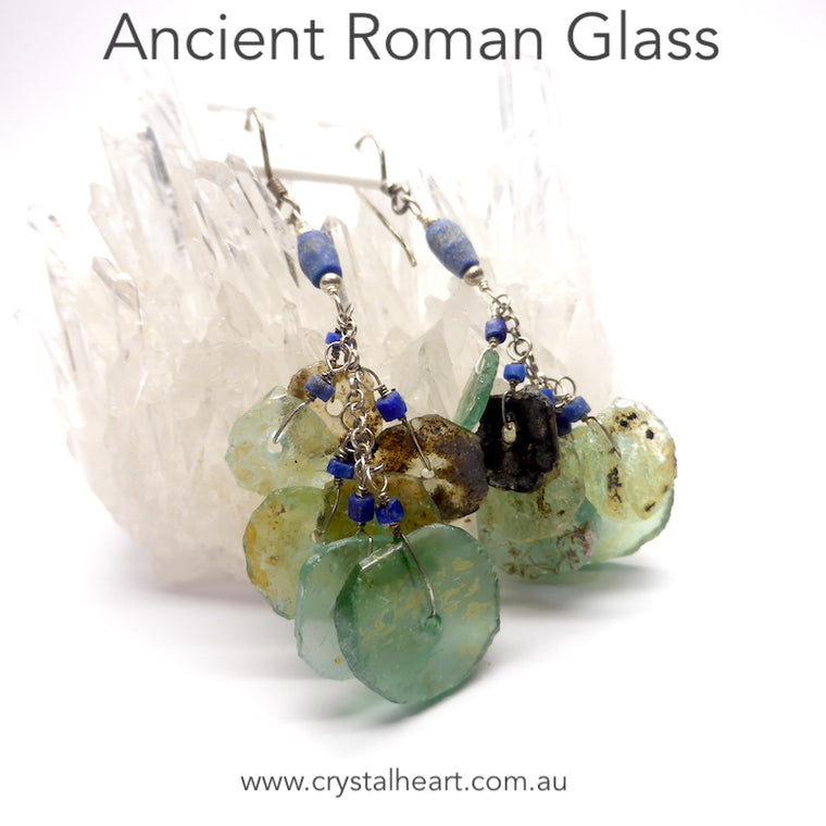 Roman Glass Earrings, 925 Silver, ab1