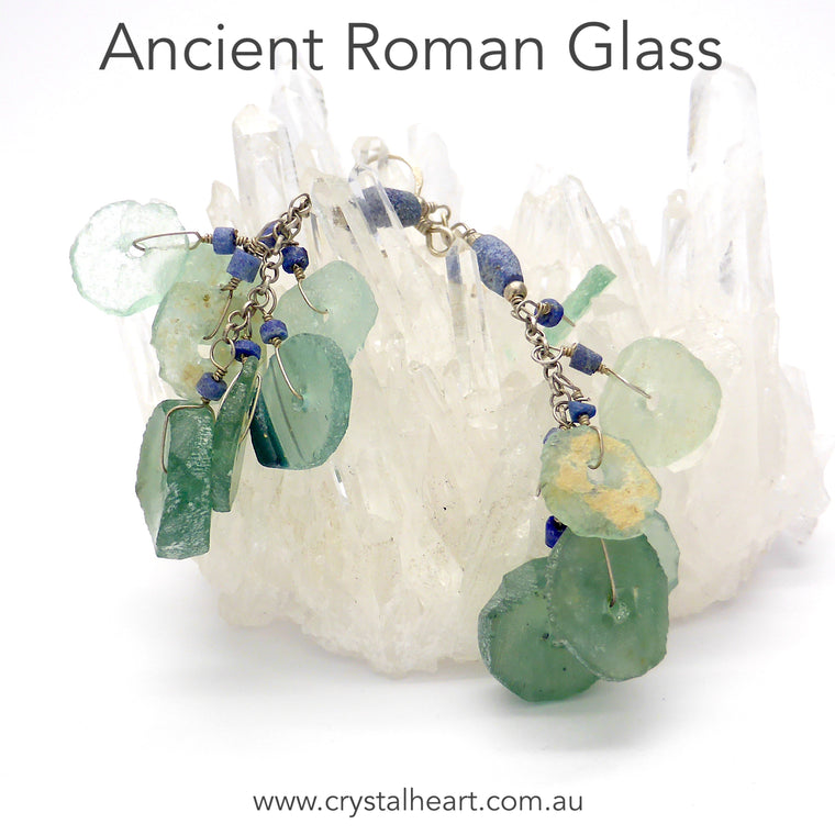 Roman Glass Earrings, 925 Silver, ab2