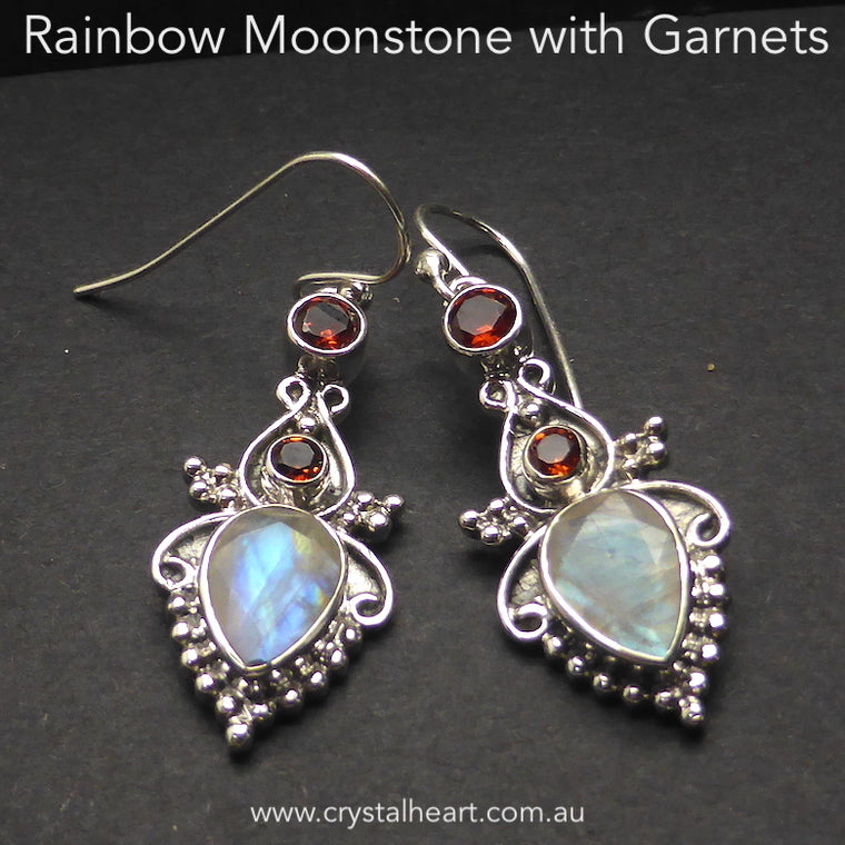 Moonstone Earrings with Garnets, 925 Silver g3