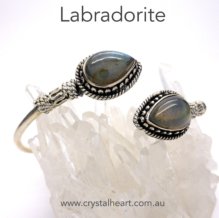 Labradorite Bracelet Bangle, 925 Silver, ks