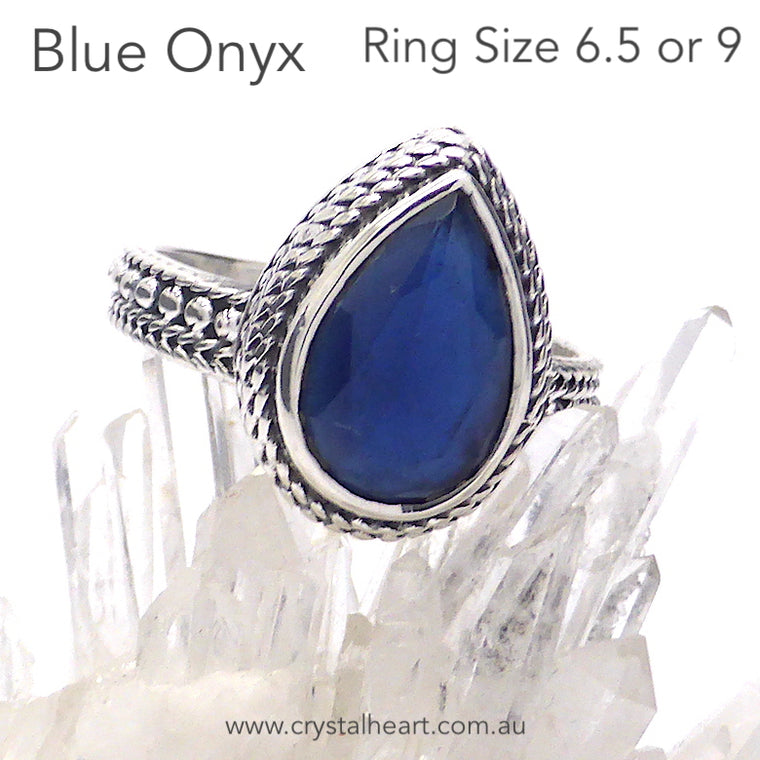 Sapphire Blue Onyx Ring, Faceted Teardrop, 925 Silver, k