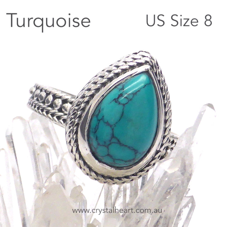 Turquoise Ring, Cabochon Teardrop, 925 Silver, k