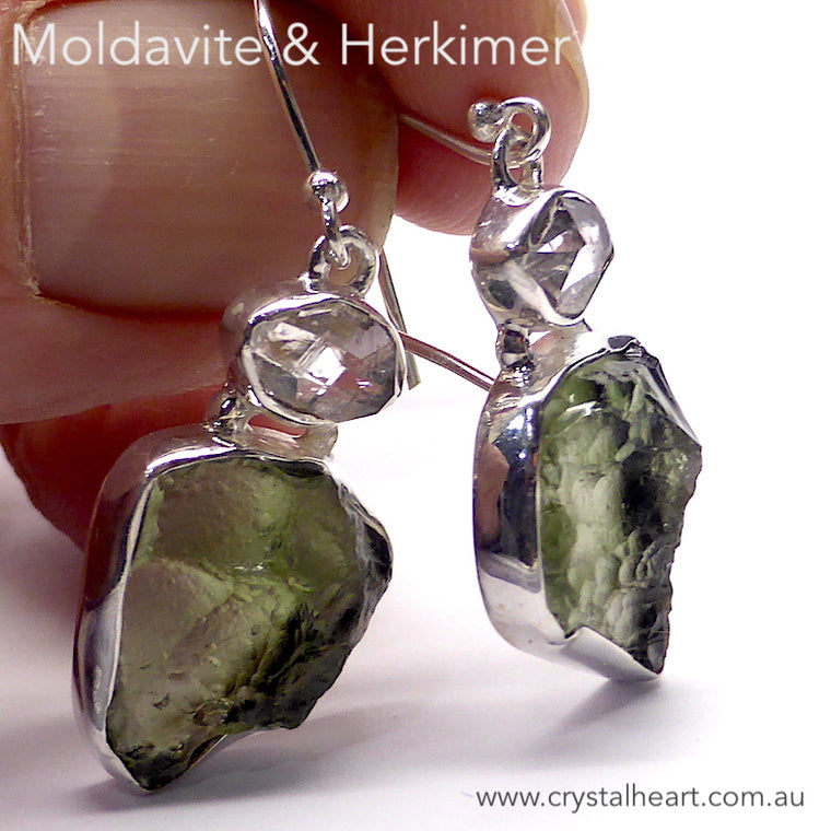 Moldavite Earrings, Raw Nugget, 925 Silver r3