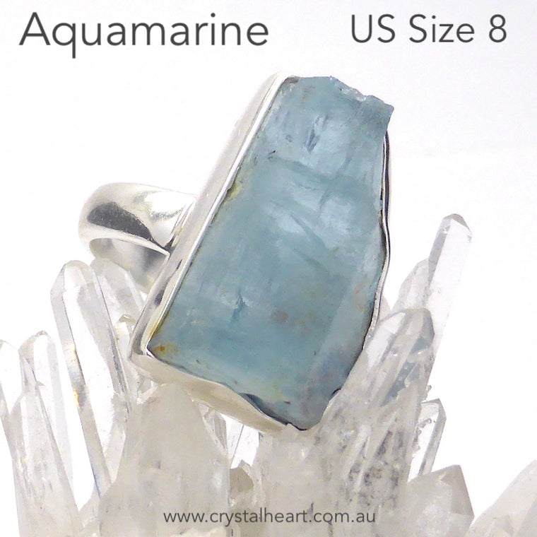 Aquamarine Raw Nugget Ring, 925 Silver r3