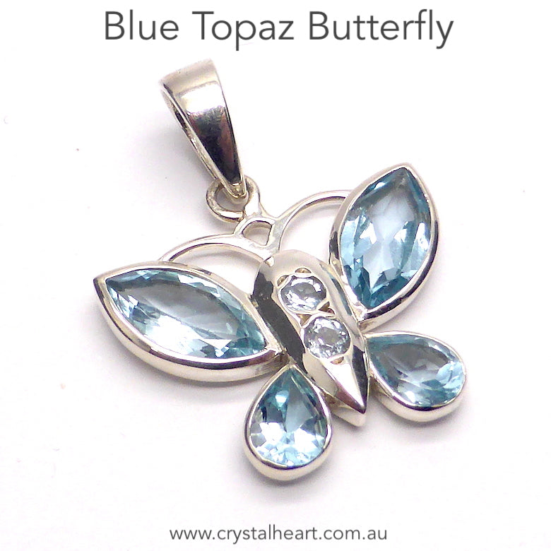 Butterfly Pendant with Gemstones | 925 Sterling Silver | Sparkling Blue Topaz wings | More Blue Topaz on body | Genuine Gems from Crystal Heart Melbourne Australia since 1986