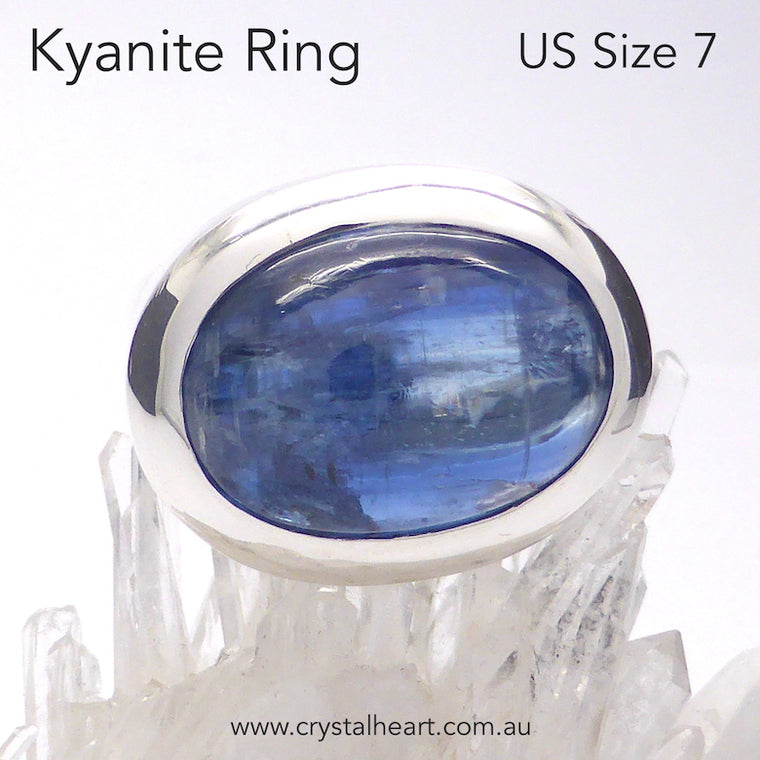 Kyanite Ring Cabochon Oval, 925 Silver pl