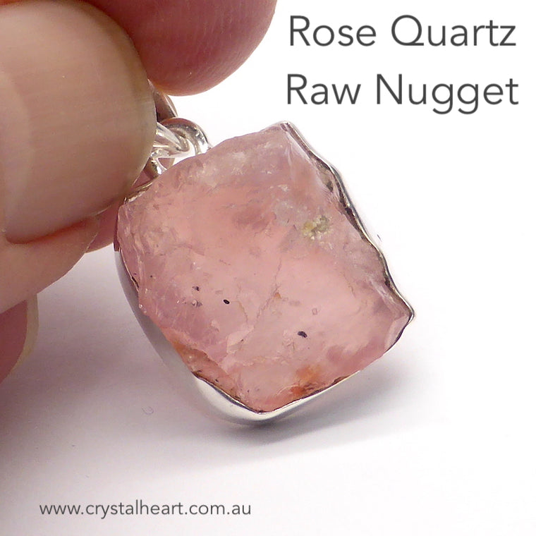 Rose Quartz Pendant, raw nugget, 925 Silver r4