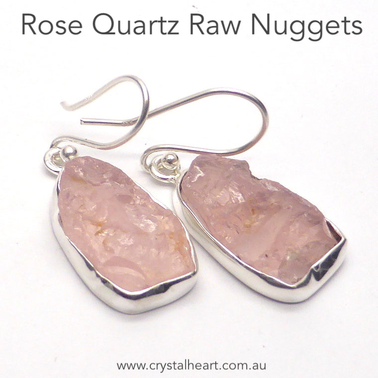 Rose Quartz Earrings, raw nugget, 925 Silver r3