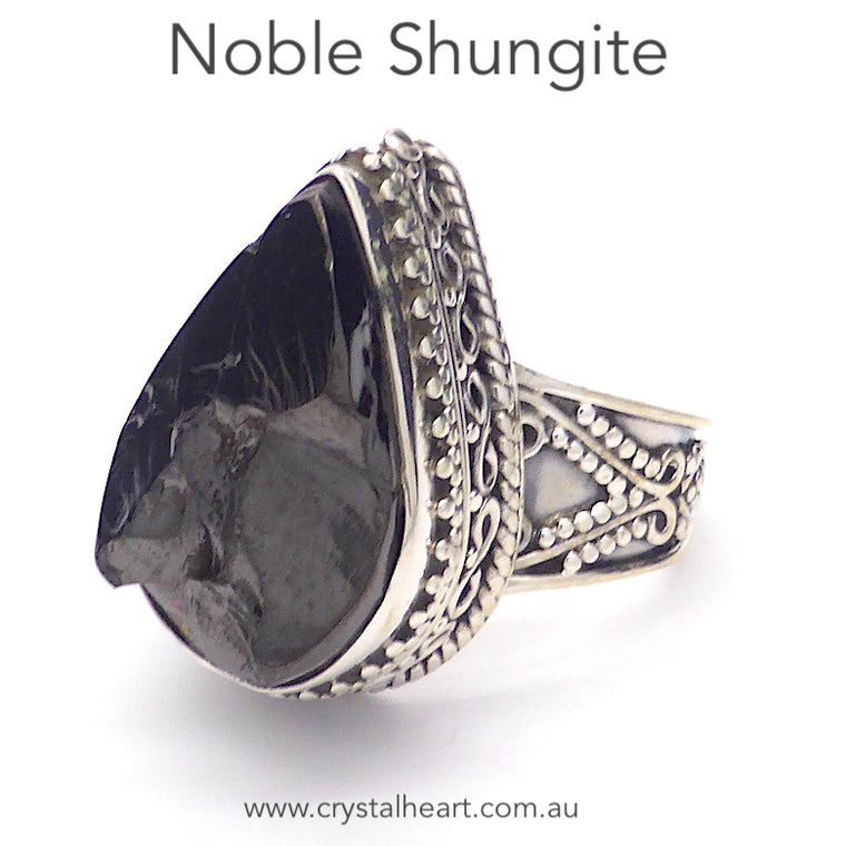 Noble Shungite Ring, 925 Silver, r1