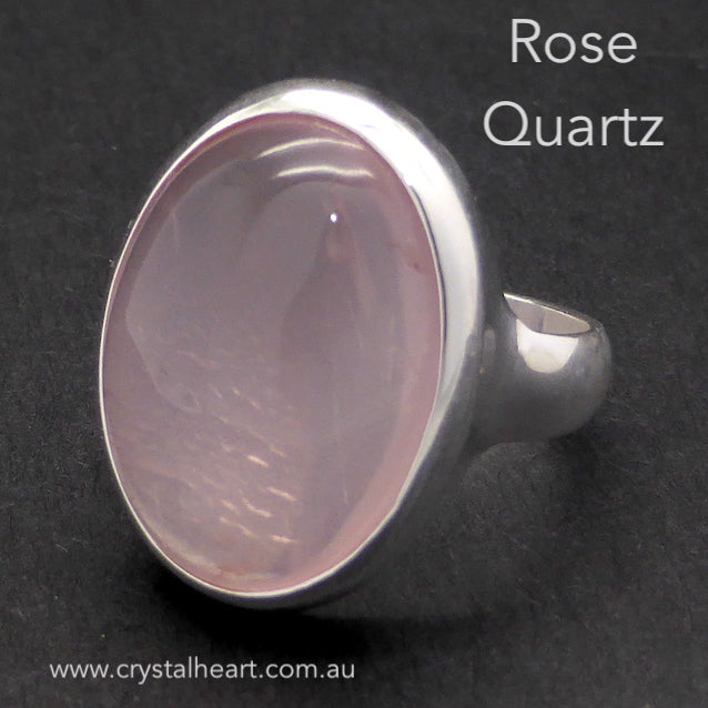 Rose Quartz Ring, Cabochon Oval, 925 Silver pc5