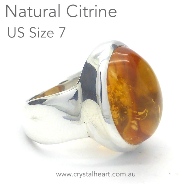 Citrine Ring Cabochon Oval, Natural, 925 Silver p2