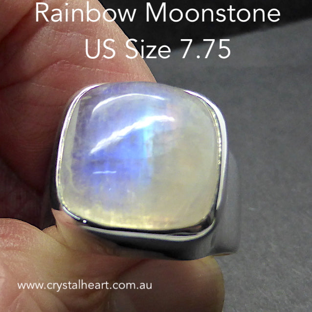 Moonstone Ring, Square Cabochon, 925 Silver p5
