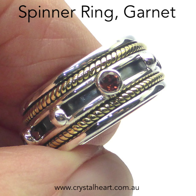 Garnet Ring, Spinning Band, 925 Silver & Gold g3