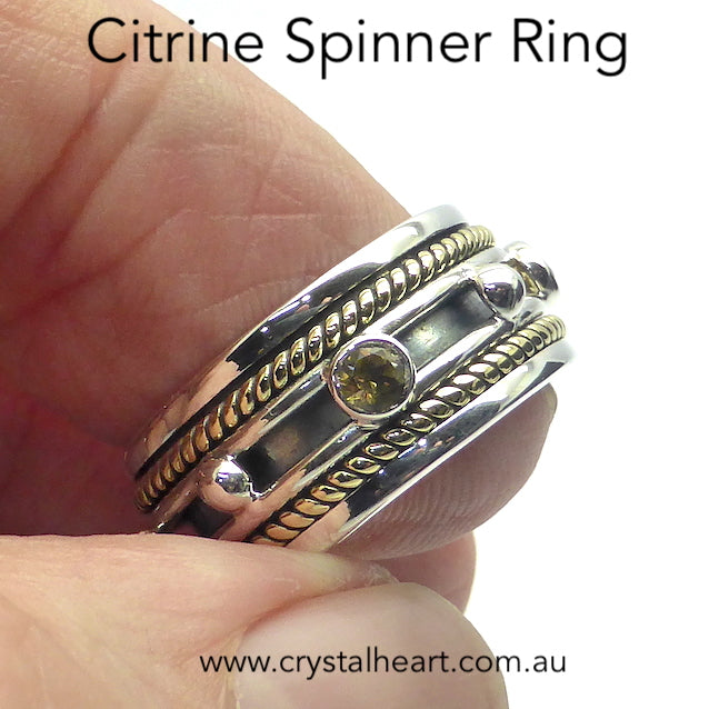 Citrine Ring, Spinning Band, 925 Silver & Gold g3