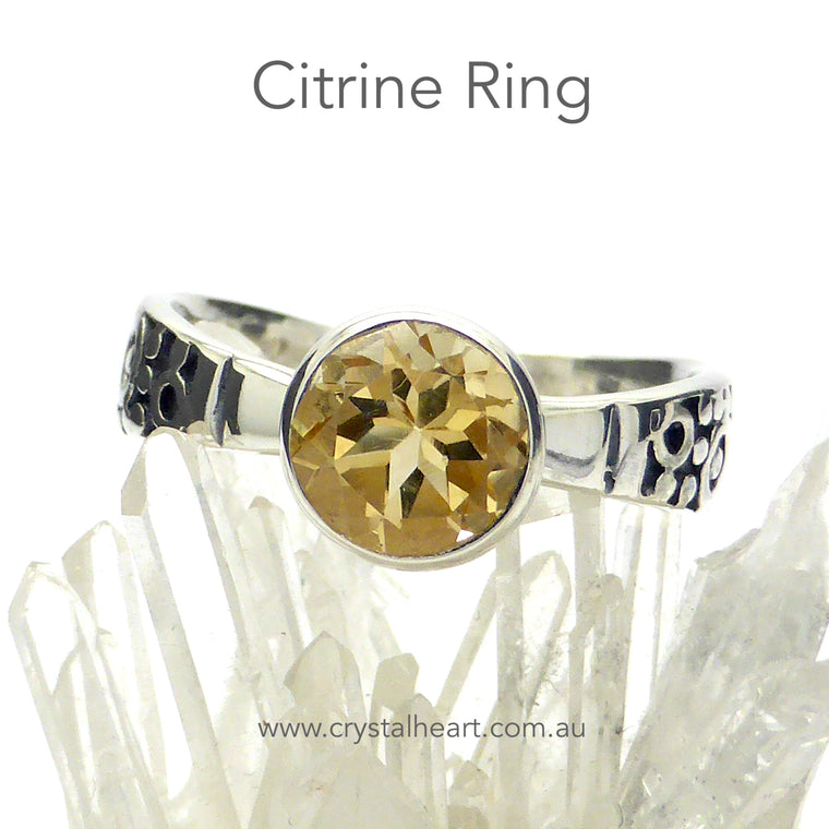 Citrine Ring, Round Faceted Gem, 925 Silver gd2