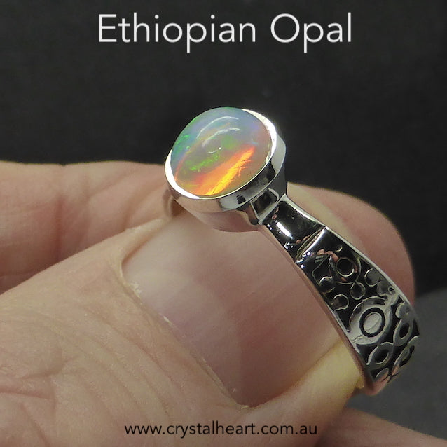 Ethiopian Opal Ring, Round Faceted Gem, 925 Silver gd2