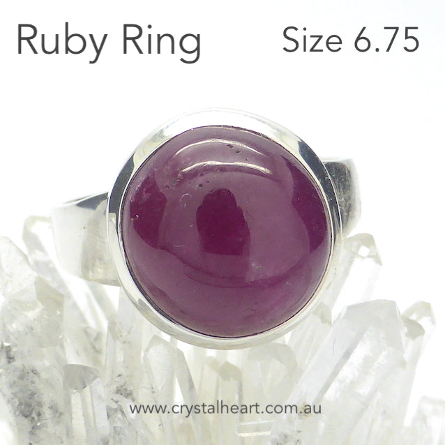 Ruby Ring, Cabochon Round, 925 Silver, g3