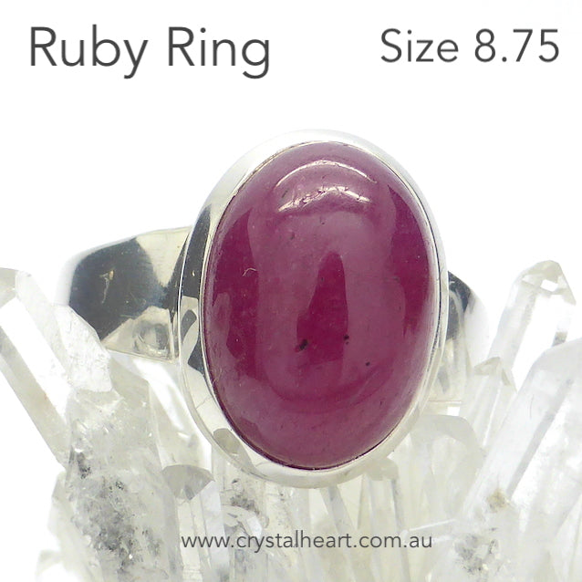 Ruby Ring, Cabochon Oval, 925 Silver, g4
