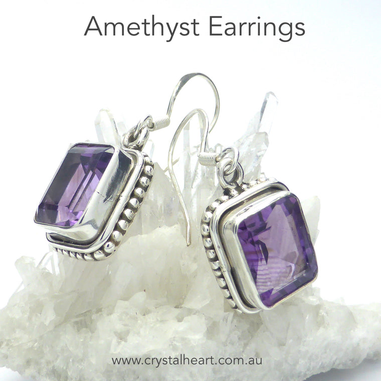 Amethyst Earring, Faceted Square, 925 Silver, k1