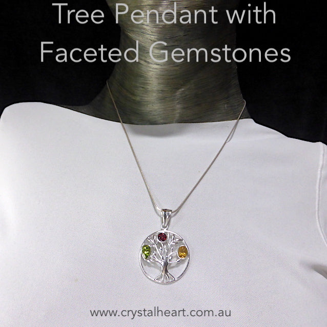 Tree Pendant with Faceted Gemstones, 925 Silver