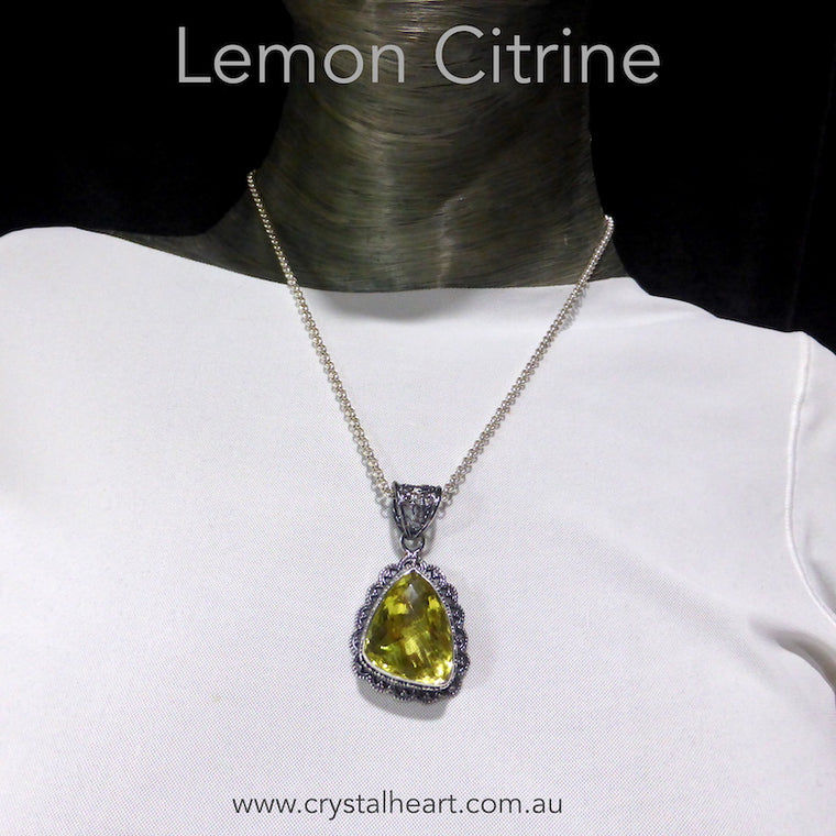 Lemon Citrine Pendant, Large Faceted Freeform, 925 Silver
