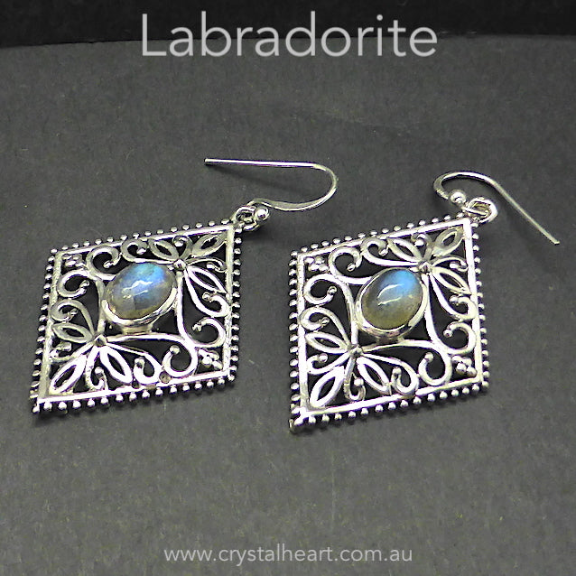Labradorite Earrings, Ornate 925 Silver Design