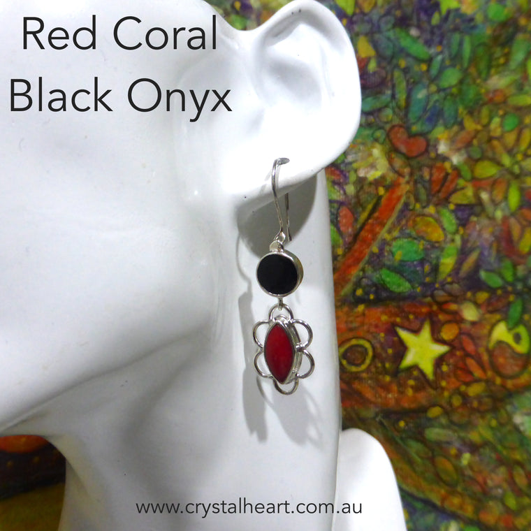 Red Coral with Black Onyx Earrings, 925 Silver