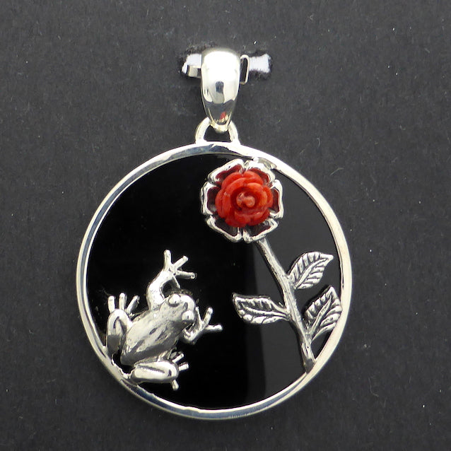 Red Coral & Black Onyx Pendant with Frog, 925 Silver
