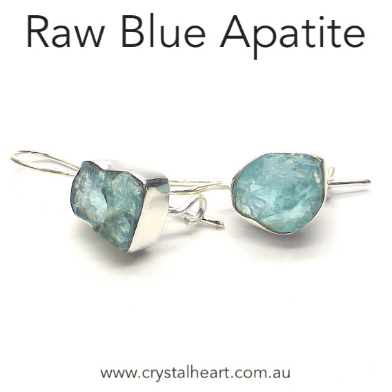 Apatite Earrings, Blue Nuggets, 925 Silver k1