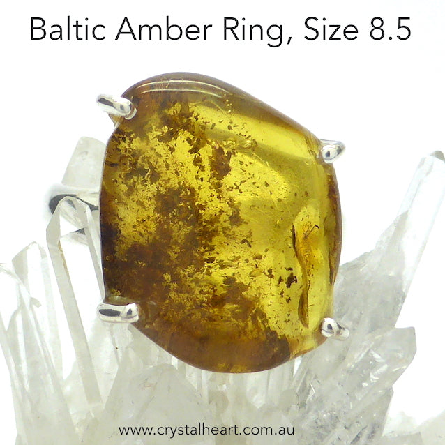 Amber Ring, Baltic, Freeform Nugget, 925 Silver, r3