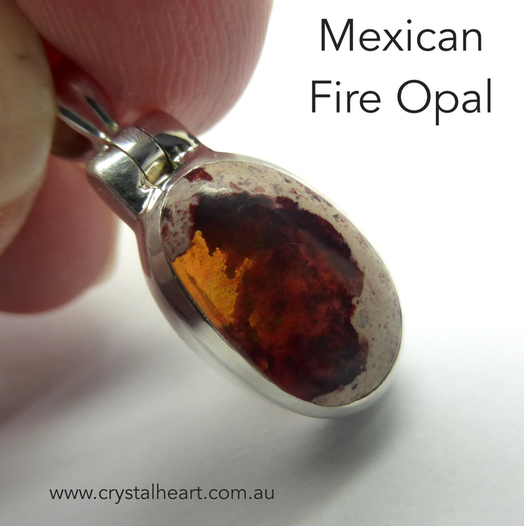 Mexican Fire Opal Pendant, 925 Silver, g1