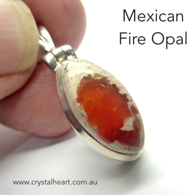 Mexican Fire Opal Pendant, 925 Silver, g4
