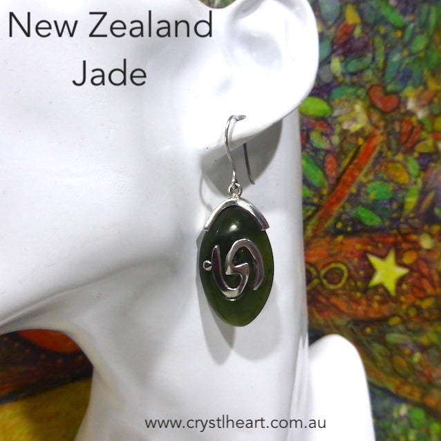 Jade Earring, New Zealand, Spiral Carving, 925 Silver