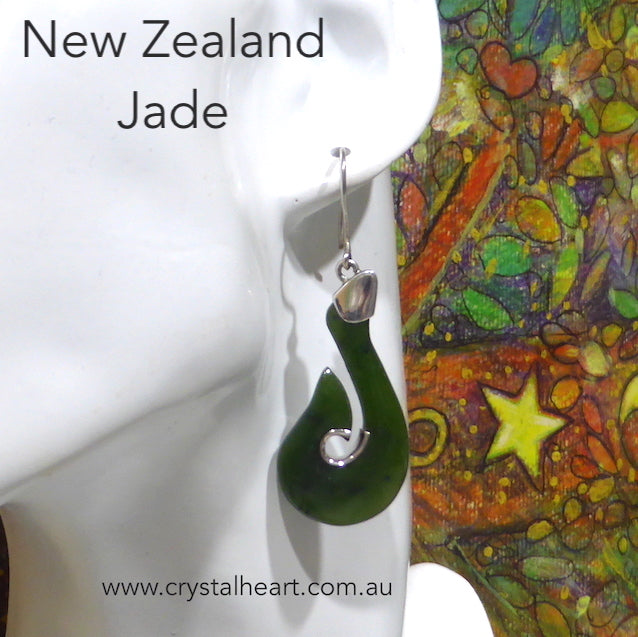 Jade Earring, New Zealand, Hook Design, 925 Silver