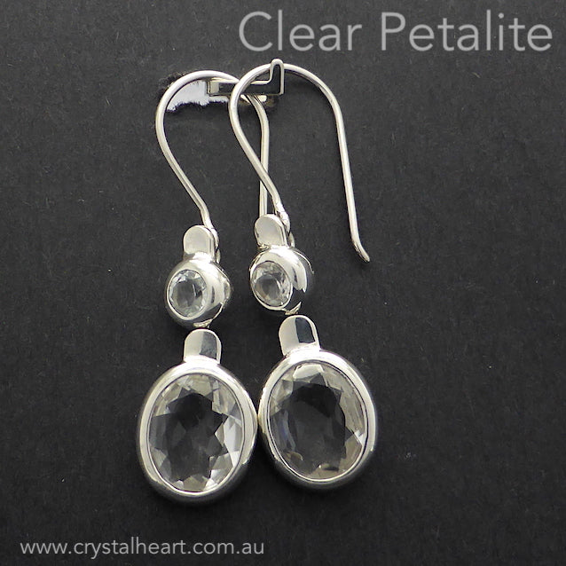 Petalite Earrings, Faceted Round and Oval, 925 silver kt