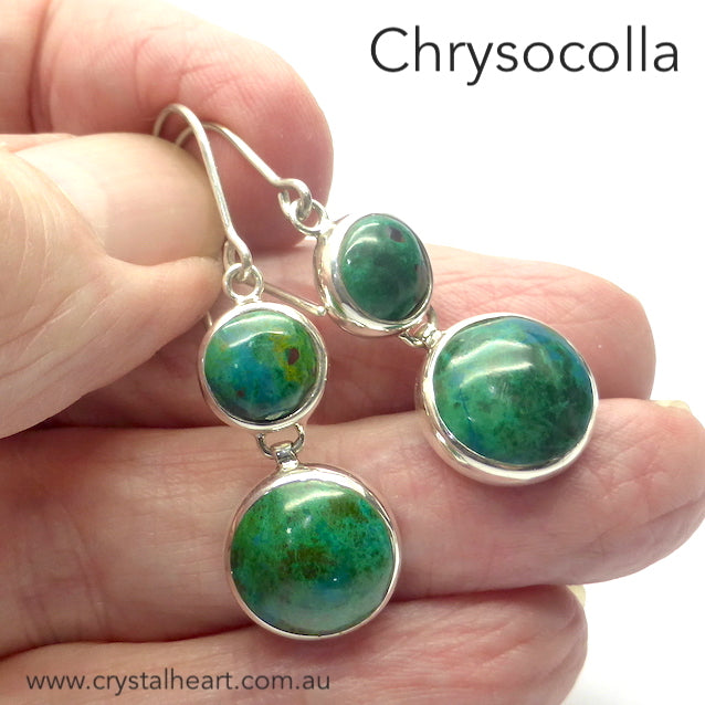 Chrysocolla Earrings, 925 Silver, kt
