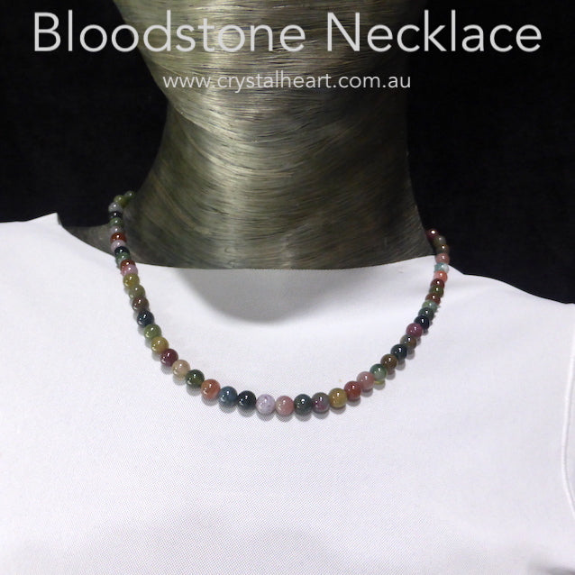 Bloodstone Bead Necklace, 925 Silver Clasp