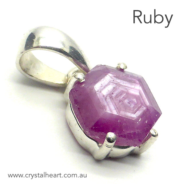 Ruby Pendant, Faceted Crystal Slice, 925 Sterling Silver, r1