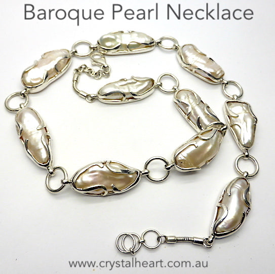 Baroque Pearl Necklace, 925 Silver kt1