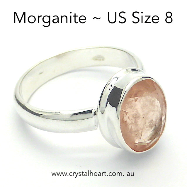 Morganite Ring, Faceted Oval, 925 Silver r4