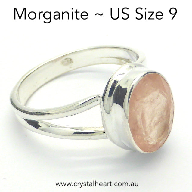 Morganite Ring, Faceted Oval, 925 Silver r5