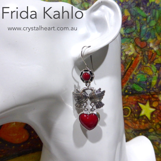Frida Kahlo Earrings, Dove with Red Coral, 925 Silver, kt2