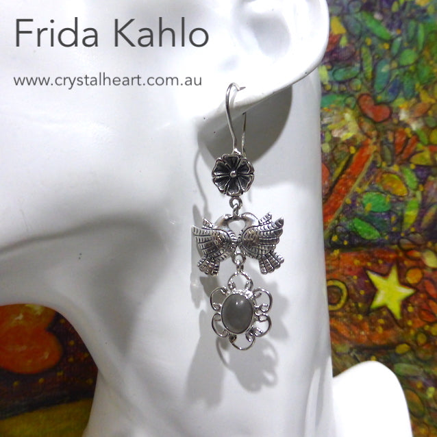 Frida Kahlo Earrings, Dove with Cats Eye, 925 Silver, kt3